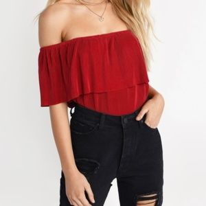 Tobi - CLAIRE RED OFF SHOULDER BLOUSE